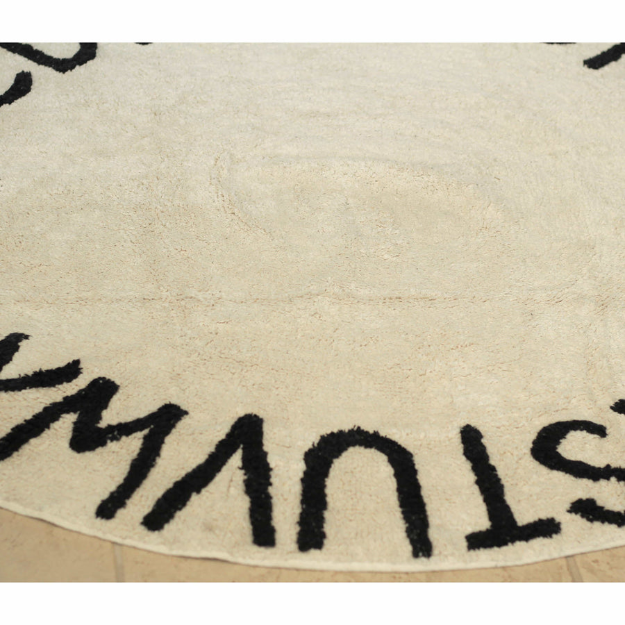 Beige ABC Alphabet Washable Rugs - Round Nursery Rug - 100% Cotton-Rugs-4 Ft Round-Jack and Jill Boutique