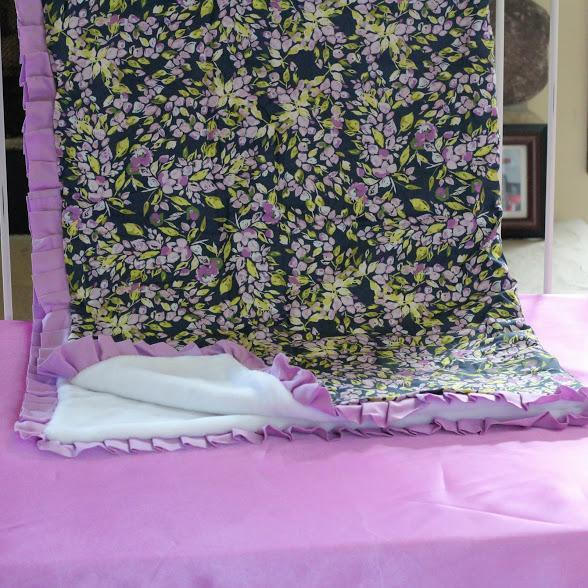 Blanket | Bougainvillea Lilac and Navy Floral Baby Bedding-Crib Blanket-Jack and Jill Boutique