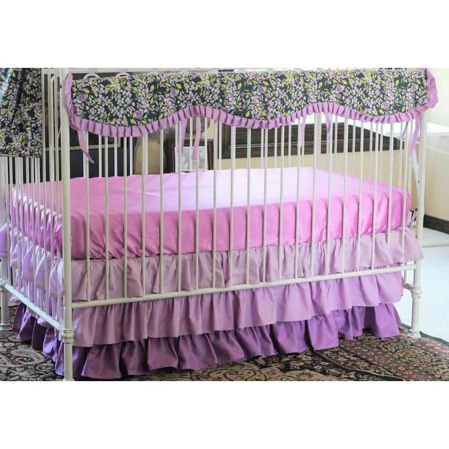 Crib Skirt | Bougainvillea Lilac and Navy Floral Baby Bedding-Crib Skirt-Jack and Jill Boutique