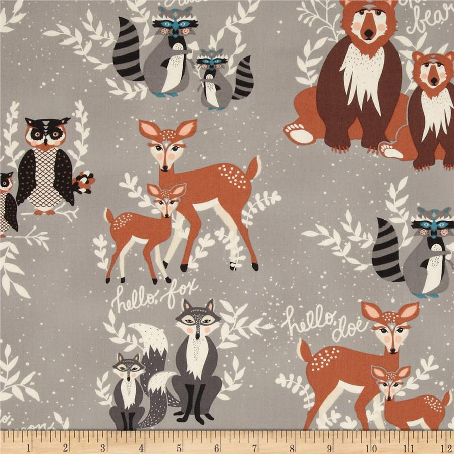 Hello Bear Oh Hello Fog Fabric by the Yard | 100% Cotton-Fabric-Default-Jack and Jill Boutique