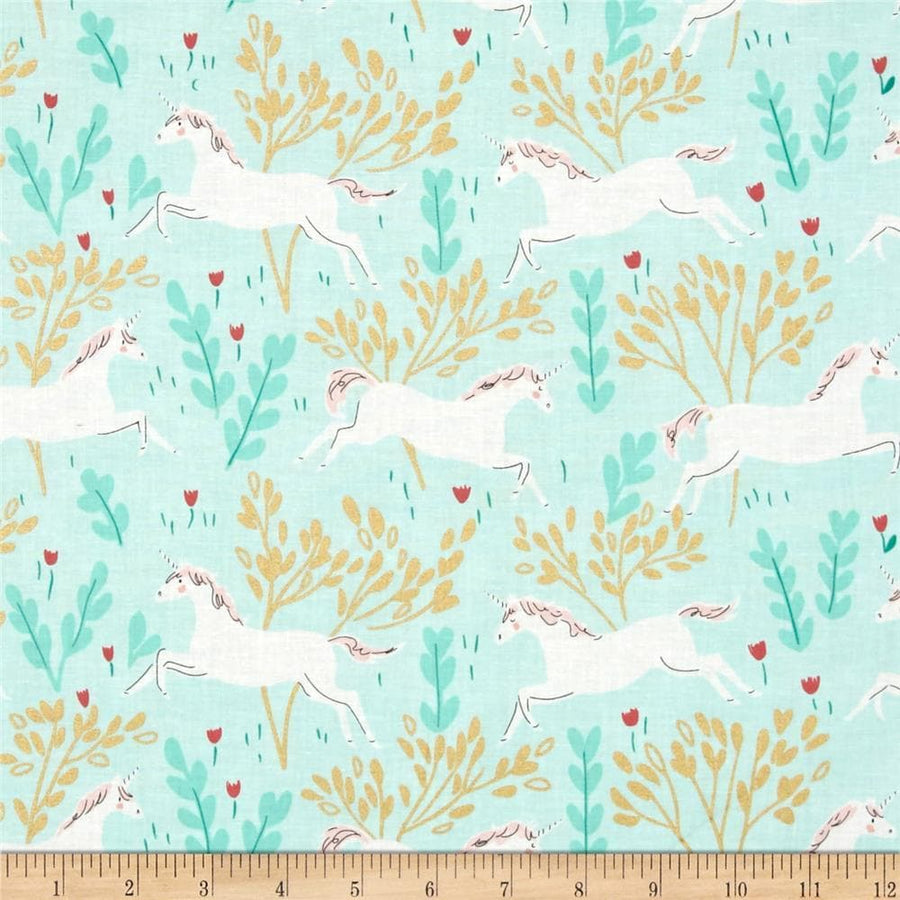 Unicorn Forest Aqua Fabric by the Yard | 100% Cotton-Fabric-Default-Jack and Jill Boutique