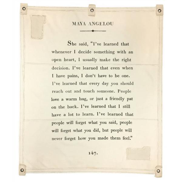 Wall Tarp - I've learned Quote from Maya Angelou Wall Hanging