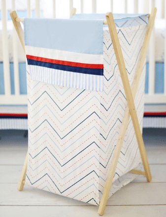 Chevron Nursery Hamper | First Mate Crib Collection-Hamper-Jack and Jill Boutique