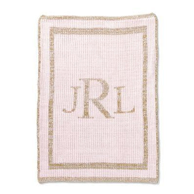 Metallic Classic Monogram Stroller Blanket or Baby Blanket-Blankets-Jack and Jill Boutique