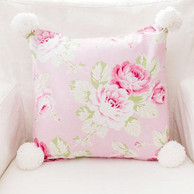 Pillow | Pink Floral Pink Desert Rose-Pillow-Pom Pom-12x16-No Insert-Jack and Jill Boutique