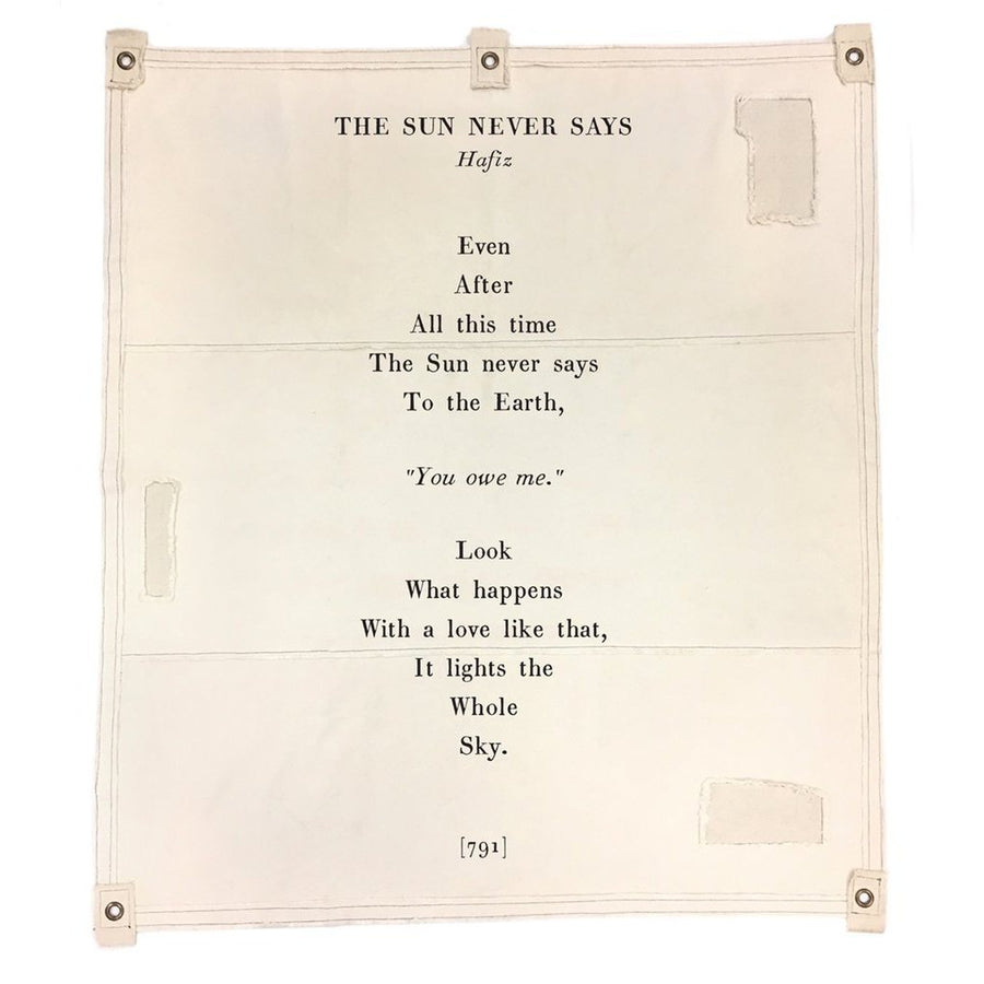 Wall Tarp - Quote from The Sun Never Says Wall Hanging-Wall Tarp-Jack and Jill Boutique