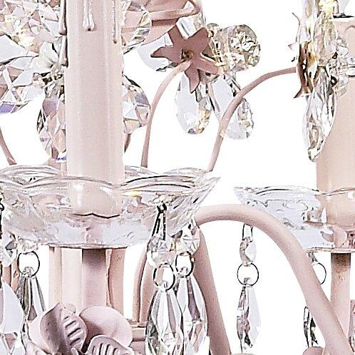 Chandelier - 5-Arm - Crystal Flower - Pink-Chandeliers-Default-Jack and Jill Boutique