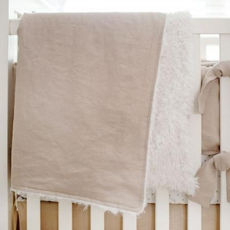 Blanket | Washed Linen in Flax Faux Fur