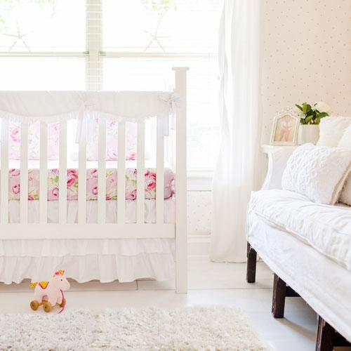Girl White Bumperless Crib Baby Bedding Set