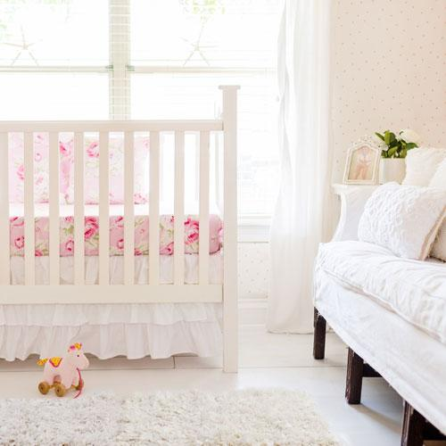 White Nursery Bedding Set I Crib Rail Cover & Crib Skirt-Crib Bedding Set-Rail Cover + Crib Skirt-Jack and Jill Boutique
