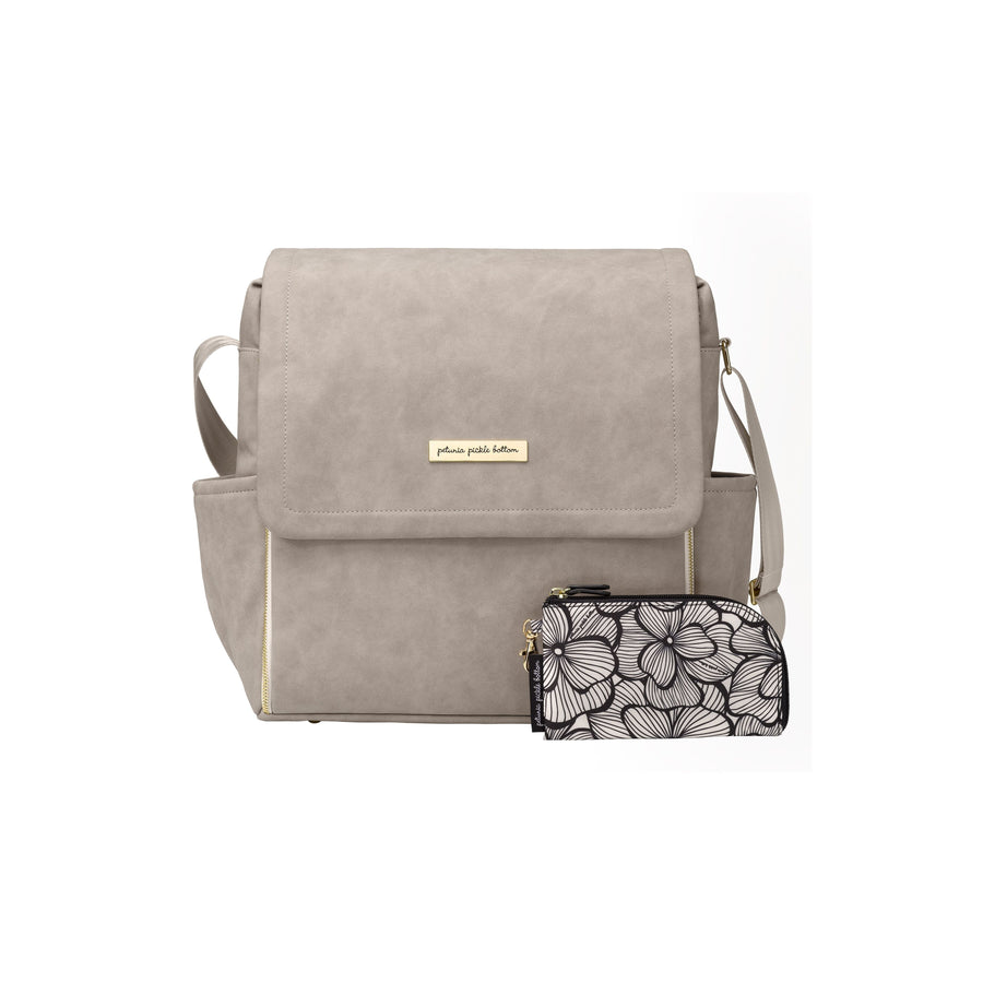 Boxy Backpack In Grey Matte Leatherette | Petunia Pickle Bottom