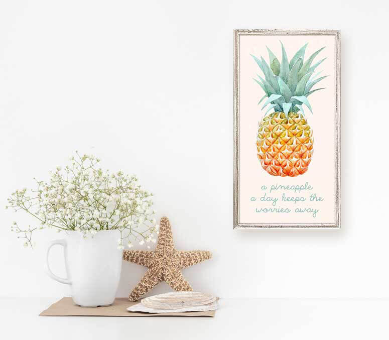 A Pineapple A Day Keeps The Worries Away - Mini Framed Canvas-Mini Framed Canvas-Jack and Jill Boutique