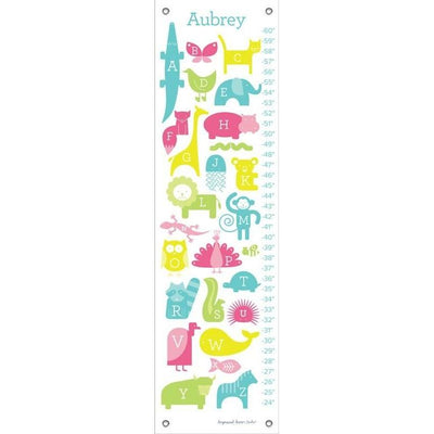 ABC Animalia - Pinks Growth Charts-Growth Charts-Default-Jack and Jill Boutique
