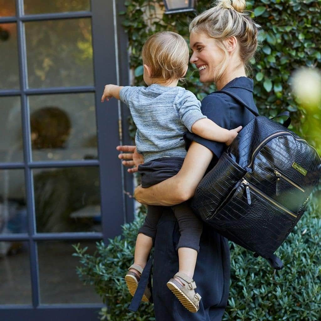 Ace Backpack in Croc Leatherette-Diaper Bags-Jack and Jill Boutique