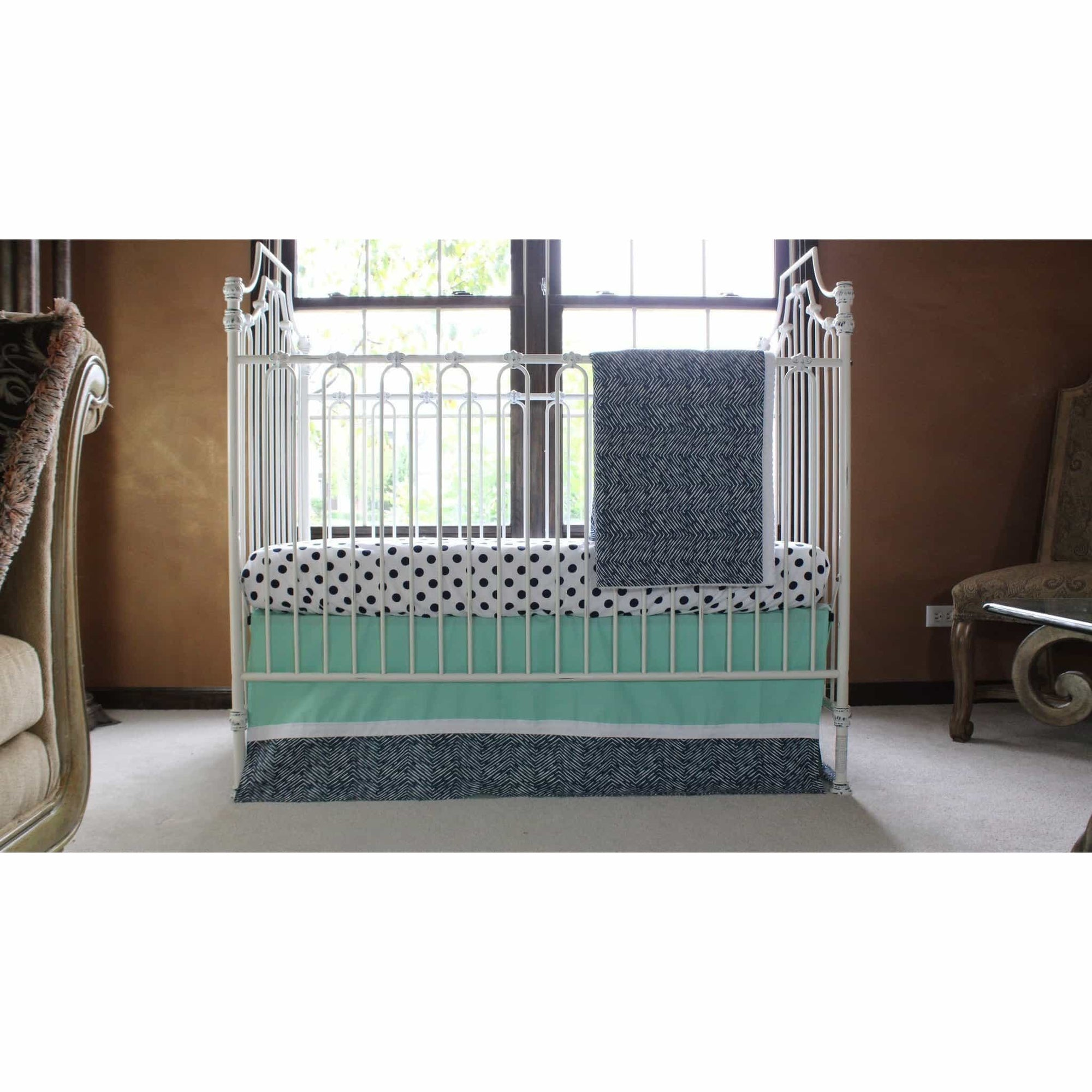Alexander's Mint and Navy Chevron Crib Bedding | Daybed Bedding-Crib Bedding Set-Jack and Jill Boutique