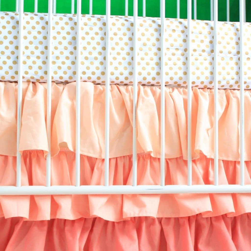Alexa's Girl Baby Bedding - Gold Dots with Peach and Coral Waterfall Ruffled Skirt-Crib Bedding Set-Jack and Jill Boutique