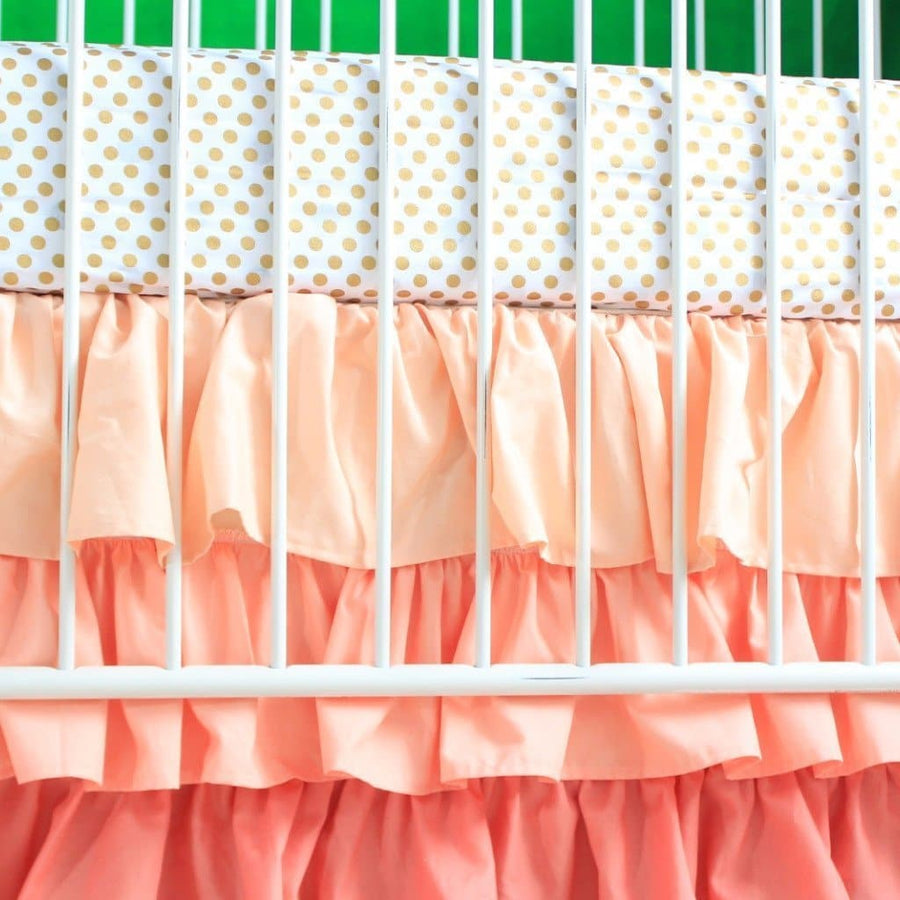 Alexa's Girl Baby Bedding - Gold Dots with Peach and Coral Waterfall Ruffled Skirt