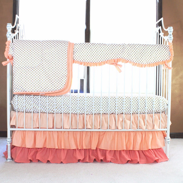 Alexa 39 s girl baby bedding gold dots with peach and coral for Peach and gold bedroom