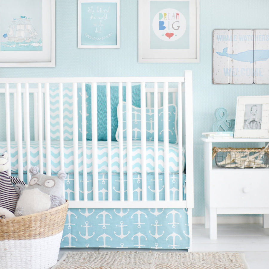 Anchors Away in Aqua Nautical Baby Bedding Set-Crib Bedding Set-Default-Jack and Jill Boutique
