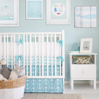 Anchors Away In Aqua Nautical Baby Bedding Set