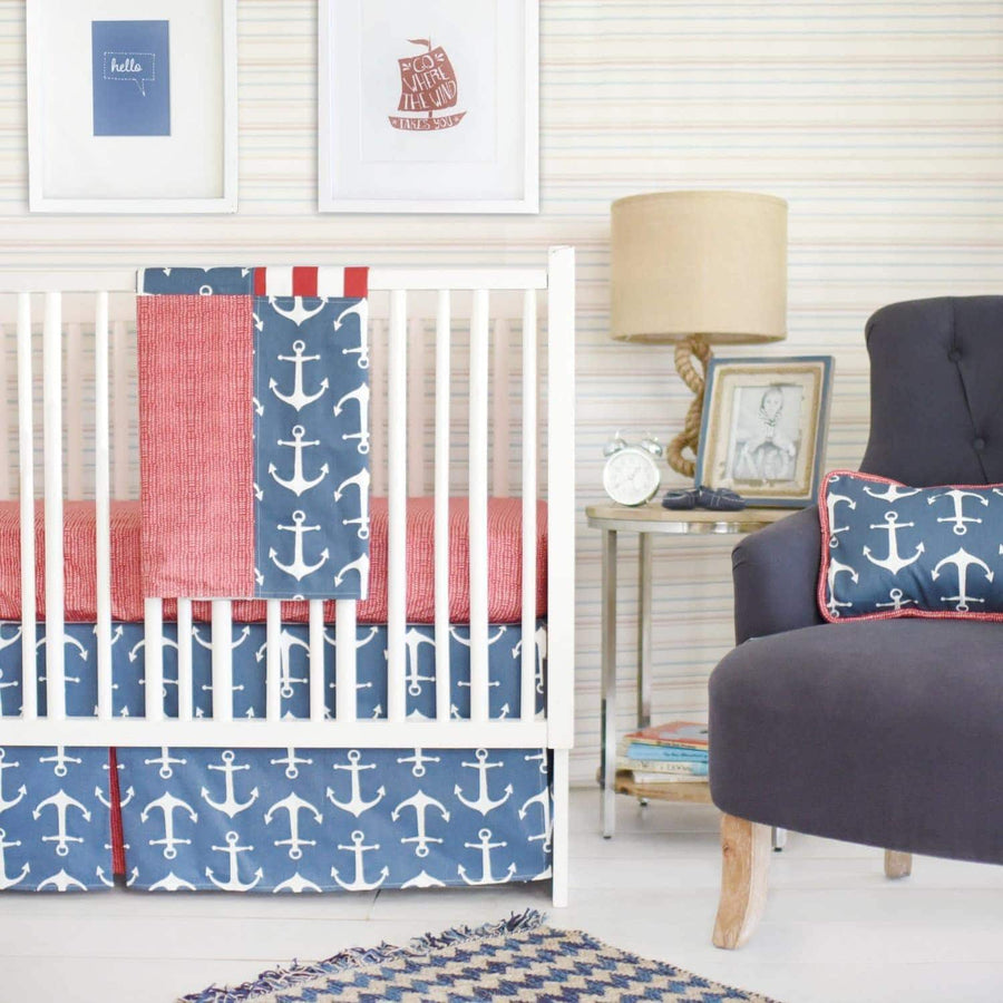 Anchors Away in Navy Nautical Baby Bedding Set-Crib Bedding Set-Default-Jack and Jill Boutique