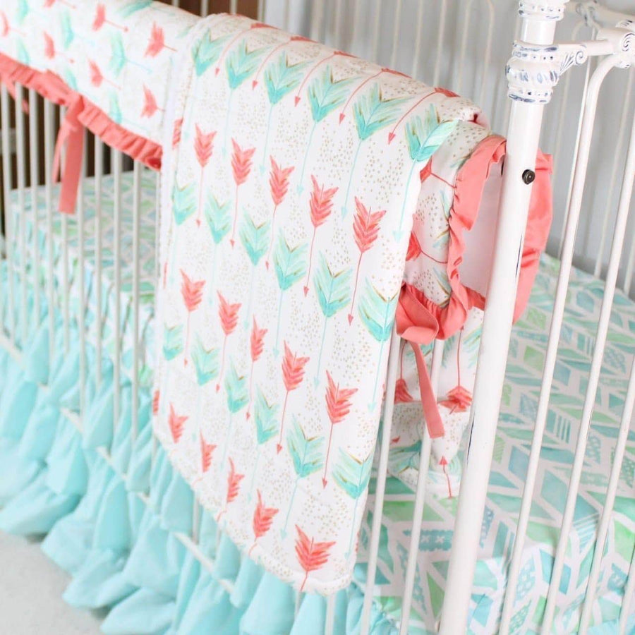 Aqua and Coral Watercolor Herringbone Baby Bedding