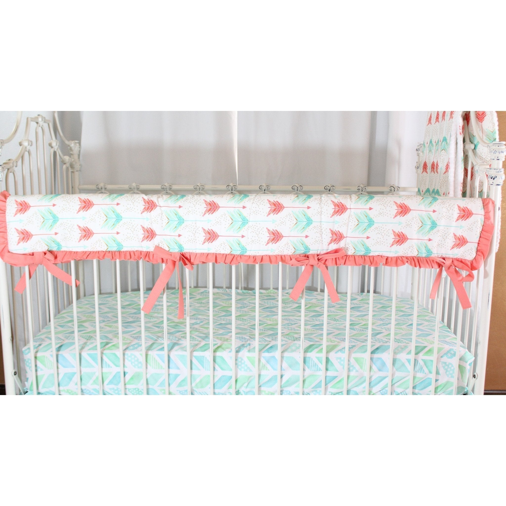 Aqua and Coral Watercolor Herringbone Baby Bedding – Jack and Jill