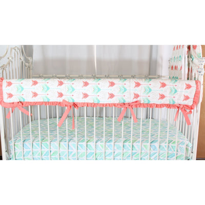 Aqua and Coral Watercolor Herringbone Baby Bedding-Crib Bedding Set-Bold Bedding-Jack and Jill Boutique