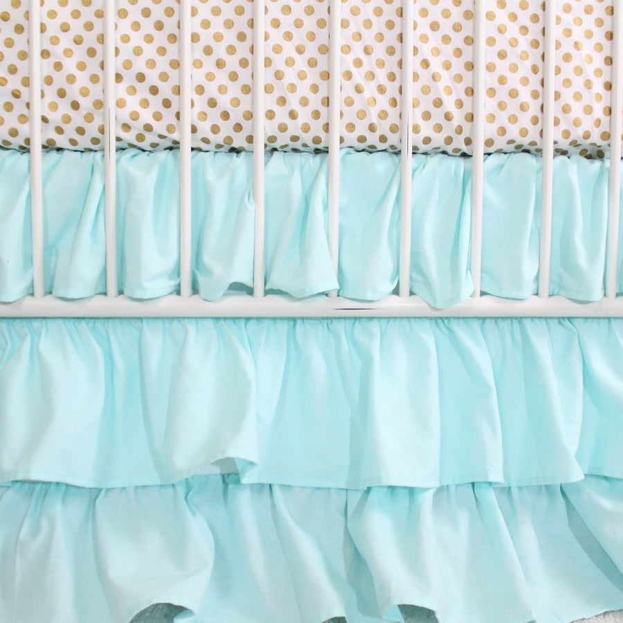 Aqua and Gold Dot Ruffle | Crib Baby Bedding Set-Crib Bedding Set-Default-Jack and Jill Boutique