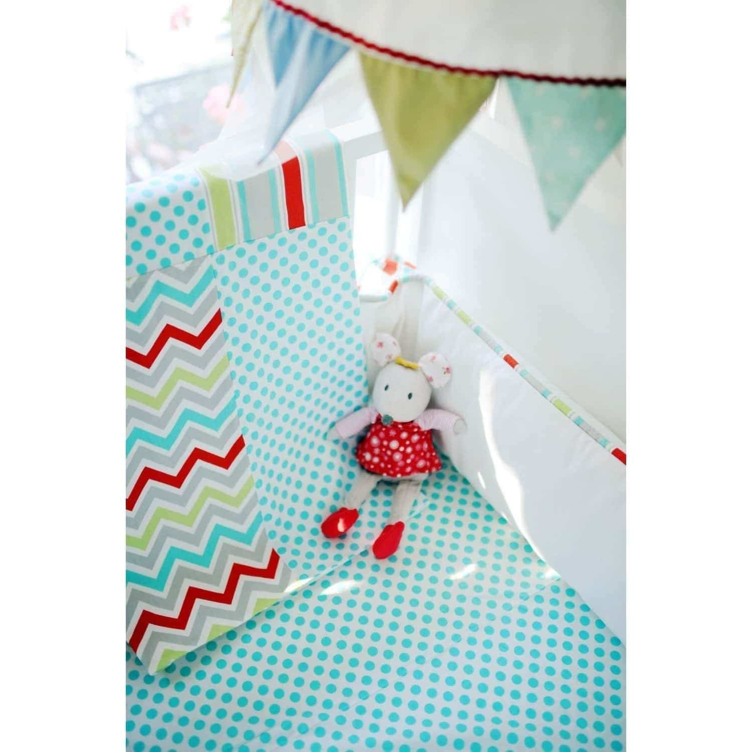 Aqua Chevron Jellybean Parade Baby Bedding Set-Crib Bedding Set-Jack and Jill Boutique