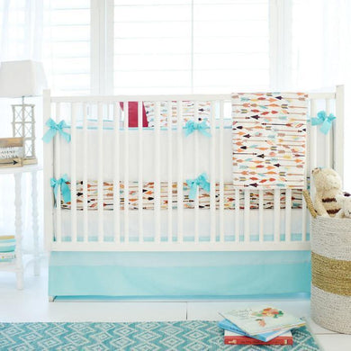 Aqua Feather Luckie Arrow in White Baby Bedding Set