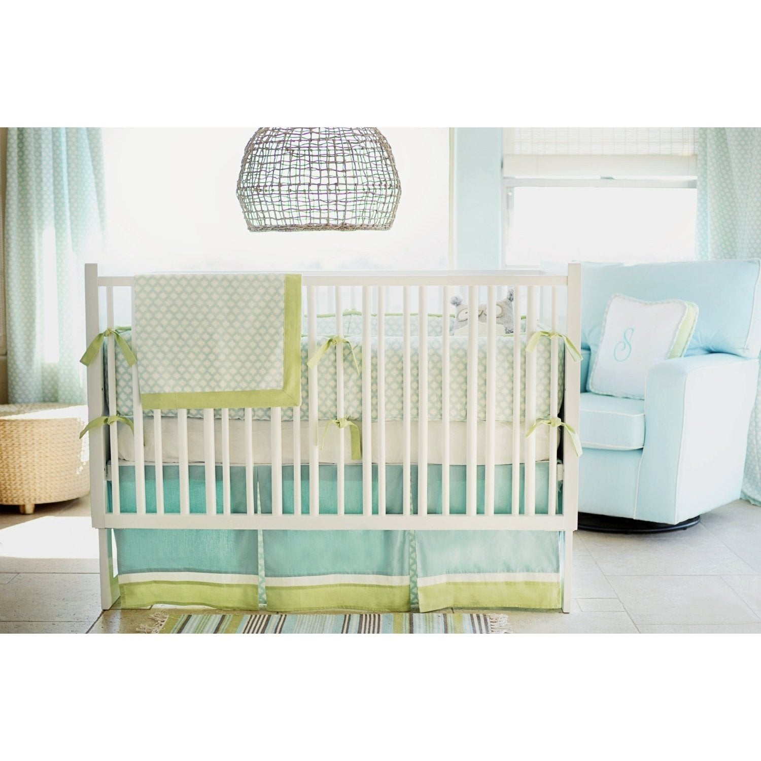 Aqua & Green Sprout Baby Bedding Set-Crib Bedding Set-New Arrivals-Jack and Jill Boutique