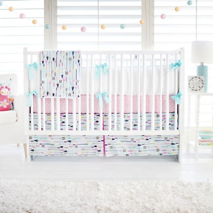 Aqua & Pink Arrow Little Explorer in Pink Baby Bedding Set