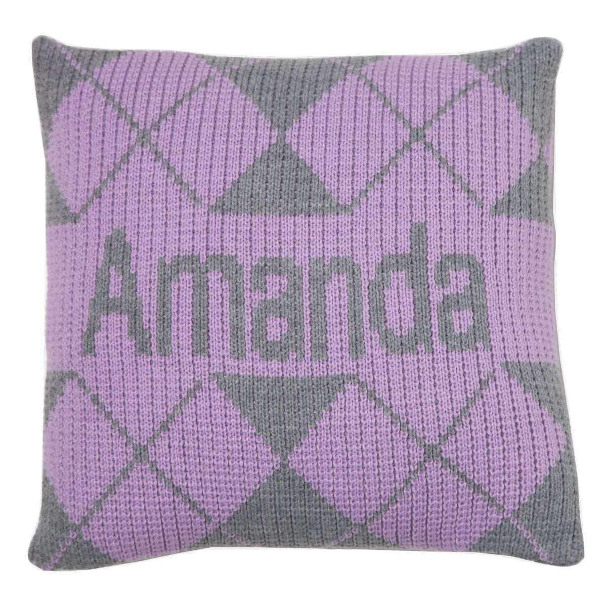Argyle & Name Personalized Pillow-Pillow-Default-Jack and Jill Boutique