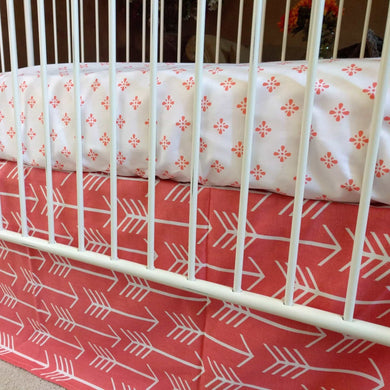 Arrows in Coral White and Coral Baby Bedding