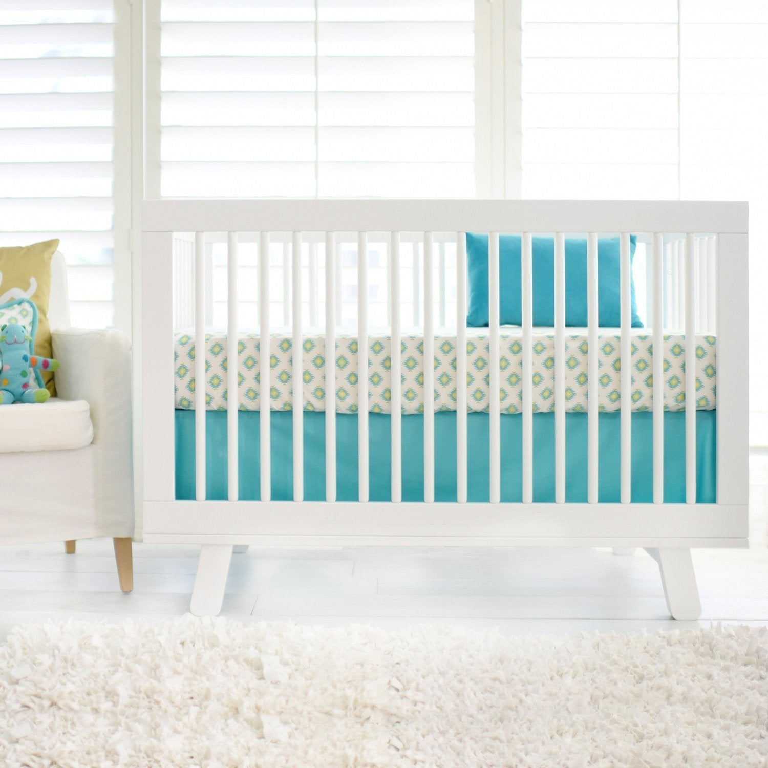 Aztec Baby in Aqua and Gold Baby Bedding Set-Crib Bedding Set-Jack and Jill Boutique