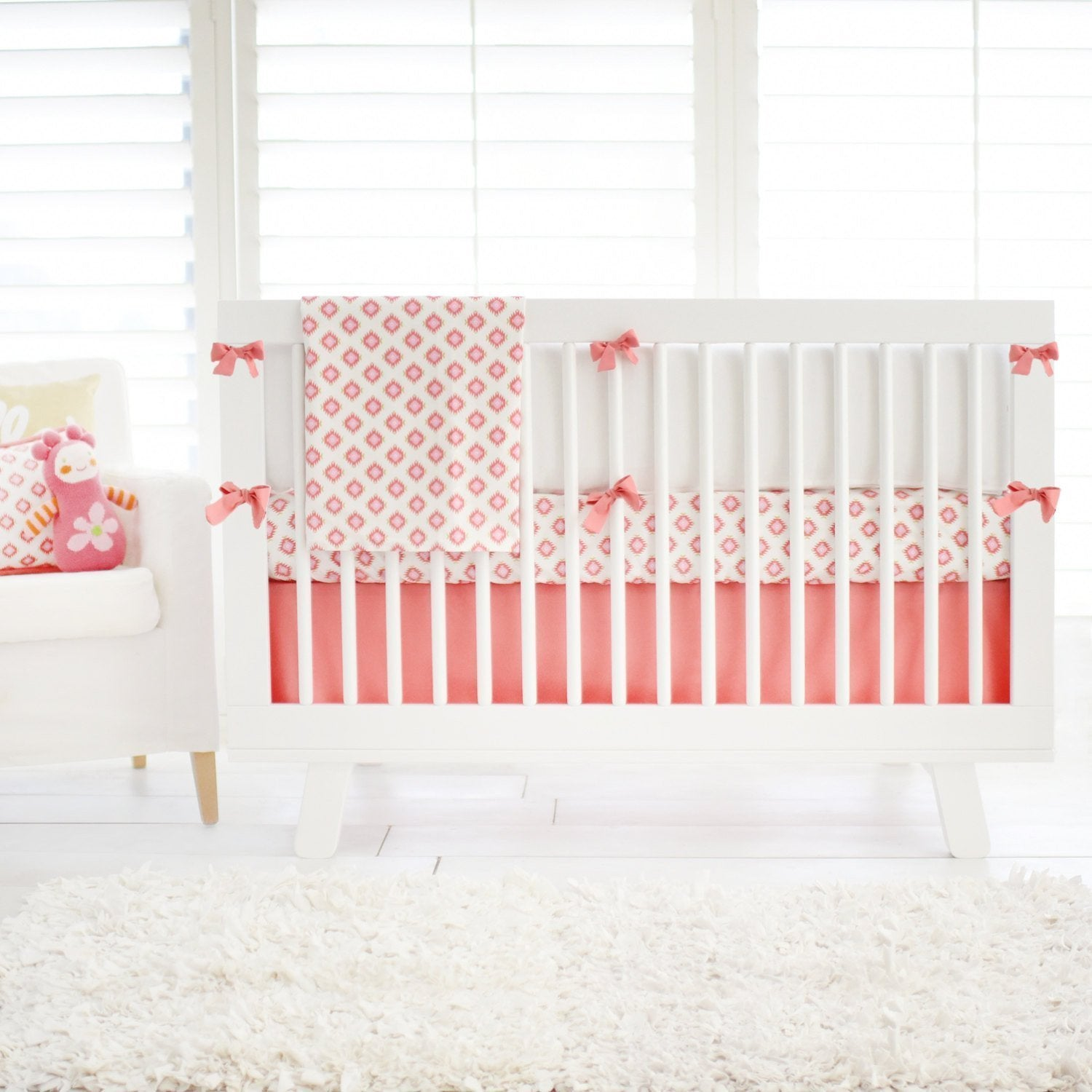 Aztec Baby in Coral Pink & Gold Baby Bedding Set-Crib Bedding Set-Jack and Jill Boutique