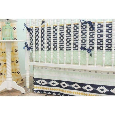 Aztec Straight Skirt Baby Bedding | Mint, Peach Crib Bedding Set-Crib Bedding Set-Default-Jack and Jill Boutique