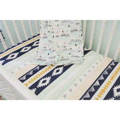 Aztec Theme Baby Bedding | Navy, Peach Crib Bedding Set-Crib Bedding Set-Default-Jack and Jill Boutique