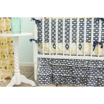 Aztec Tiered Baby Bedding | Navy Blue, Aqua Crib Bedding Set-Crib Bedding Set-Tushies and Tantrums-Jack and Jill Boutique