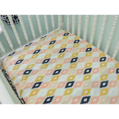 Aztec Tiered Baby Bedding | Navy, Peach Crib Bedding-Crib Bedding Set-Default-Jack and Jill Boutique