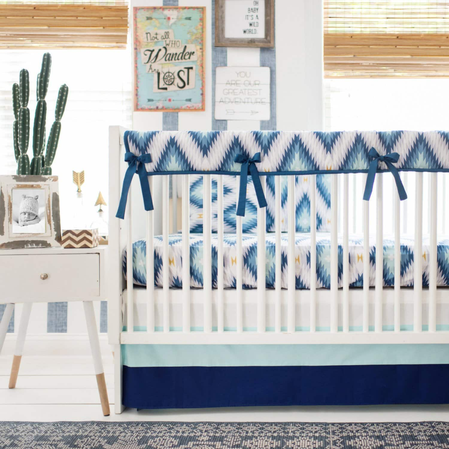 Aztec Wander in Blue Baby Bedding Set-Crib Bedding Set-Jack and Jill Boutique