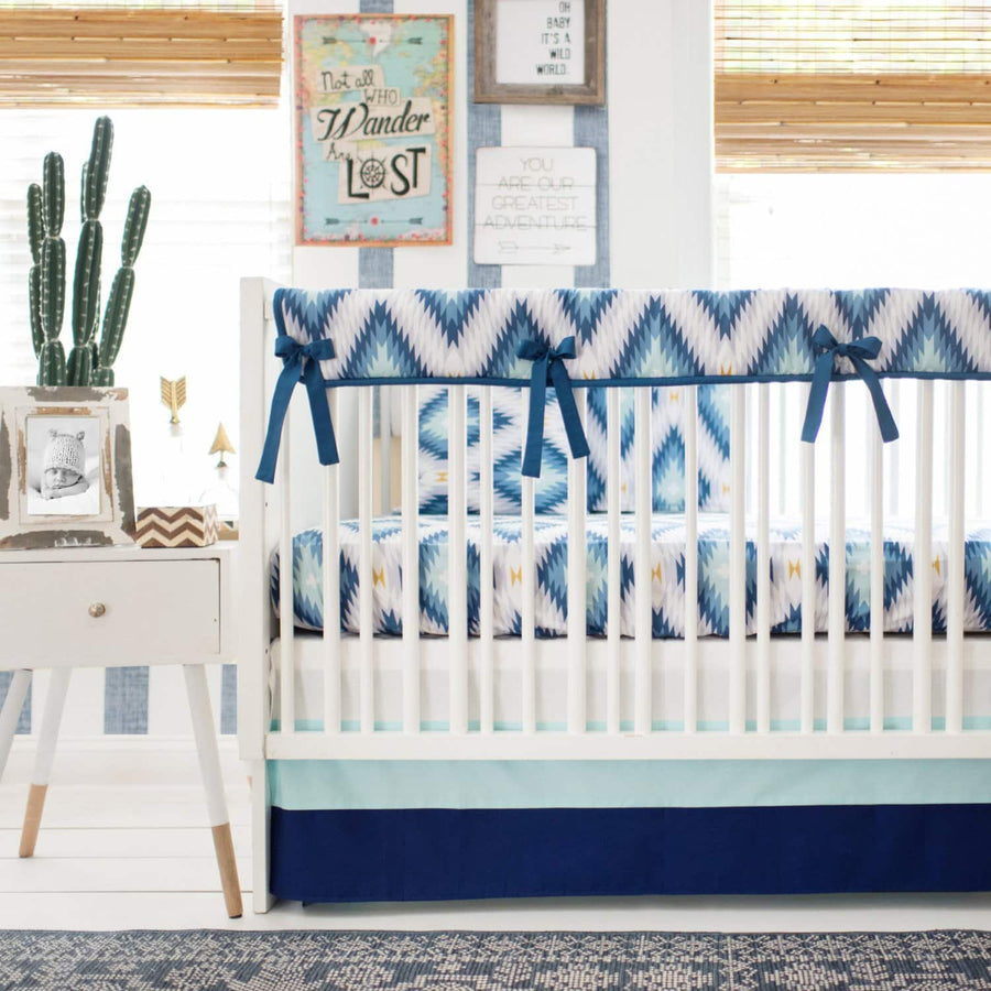 Aztec Wander in Blue Baby Bedding Set-Crib Bedding Set-Default-Jack and Jill Boutique