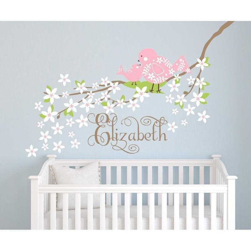 Baby Bird on Blossoming Branch Fabric Decal-Decals-60 in W-Jack and Jill Boutique