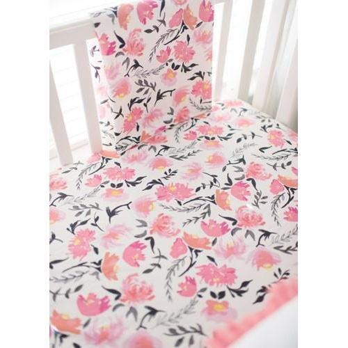 Baby Blanket | Floral Rosewater in Coral-Baby Blanket-Jack and Jill Boutique