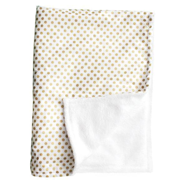 Baby Blanket-Jack and Jill Boutique-Baby Blanket | Metallic Gold Dots
