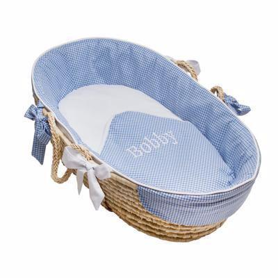 Baby Blue Gingham Moses Basket for Infant-Moses Basket-TAILORED-Jack and Jill Boutique
