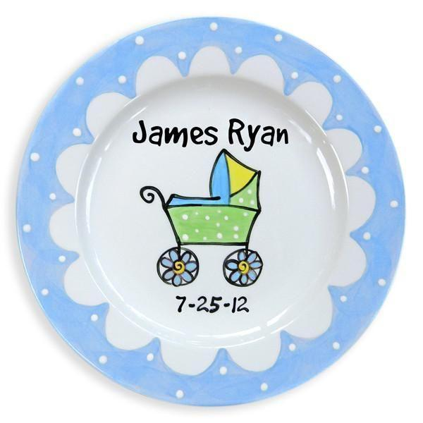 Baby Carriage Boys Hand-Painted Ceramic Plate-Ceramic Plate-Jack and Jill Boutique