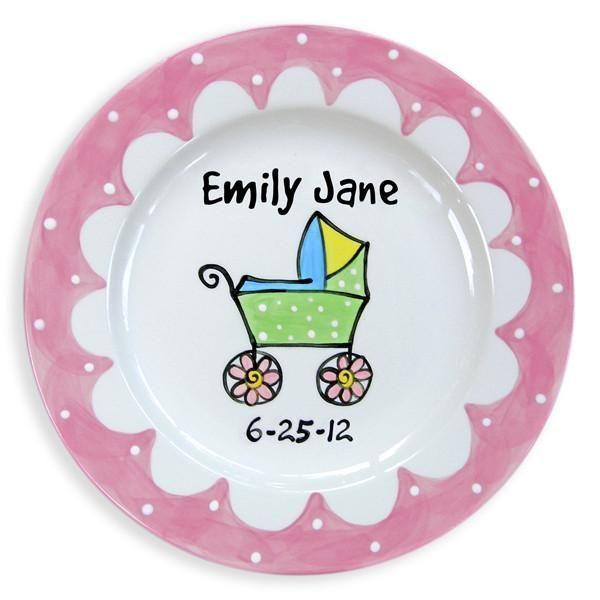 Baby Carriage Girls Hand-Painted Ceramic Plate-Ceramic Plate-Jack and Jill Boutique