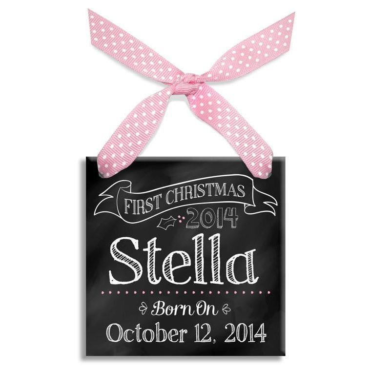 Baby's First Christmas Chalkboard Ornament-Ceramic Ornament-Jack and Jill Boutique